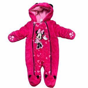 DISNEY Minnie Mouse Pink Fleece Snowsuit 3-6Months